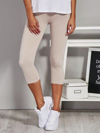 Beżowe krótkie legginsy