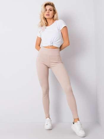 Beżowe legginsy prążkowane Sanja