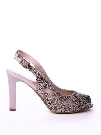 Beżowe sandały SERGIO LEONE w mieniący kwiecisty wzór