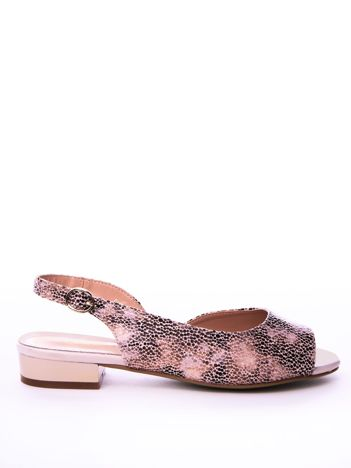 Beżowe sandały SERGIO LEONE w mieniący wzór na niskim klocku