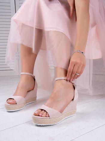 Beżowe sandały SWEET SHOES na platformie i koturnach