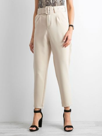 Beżowe spodnie high waist