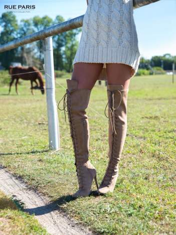 Beżowe zamszowe wiązane kozaki faux suede za kolano