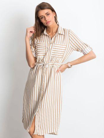 Beżowo-biała sukienka Attached