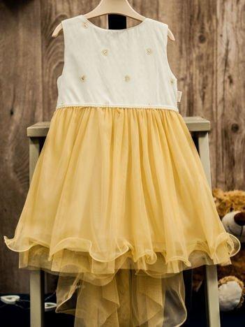 Beżowo-biała tiulowa sukienka dziewczęca z perełkami