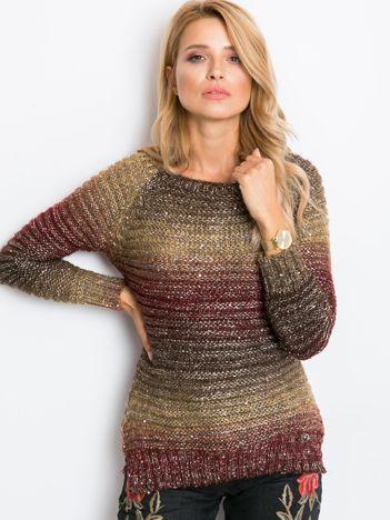 Beżowo-bordowy sweter Vittorio