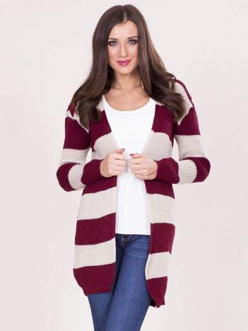 Beżowo-bordowy sweter w pasy