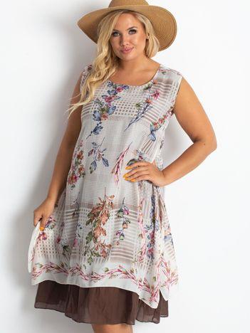 Beżowo-brązowa sukienka plus size Sound
