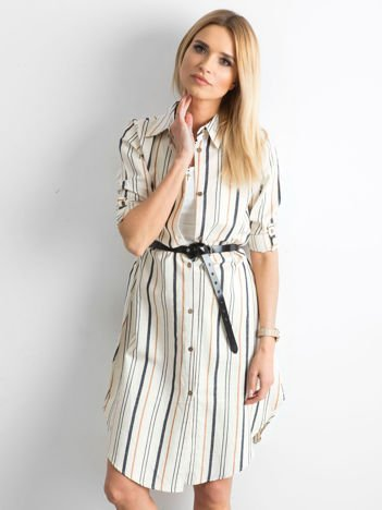 Beżowo-brązowa sukienka szmizjerka