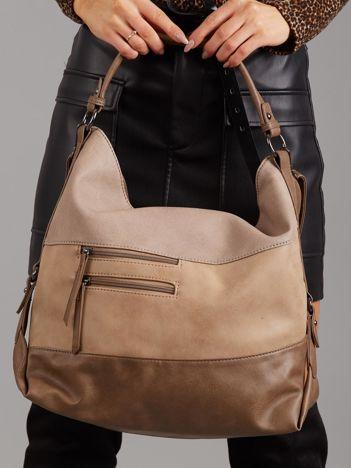 Beżowo-brązowa torba z łączonych materiałów