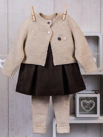 Beżowo-brązowy ciepły niemowlęcy 3-częściowy komplet z sukieneczką i sweterkiem dla dziewczynki na co dzień i na specjalne okazje