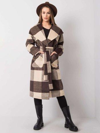 Beżowo-brązowy płaszcz w kratę Georgette