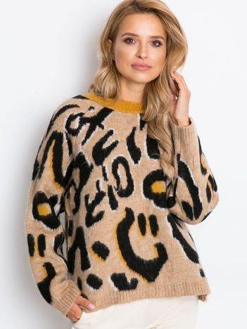 Beżowo-czarny sweter Madrid