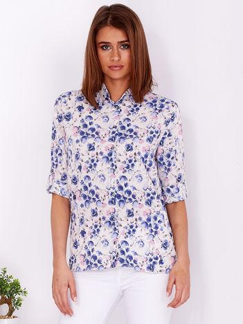 Beżowo-niebieska kwiatowa koszula z podwijanymi rękawami