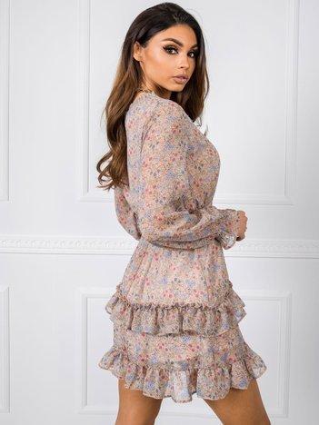 Beżowo-niebieska sukienka Alice RUE PARIS