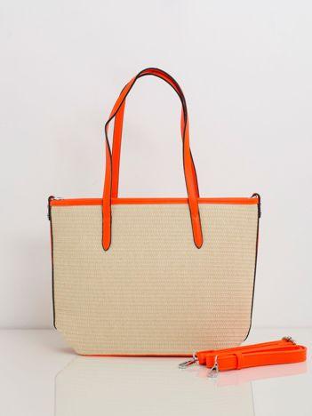 Beżowo-pomarańczowa pleciona torebka
