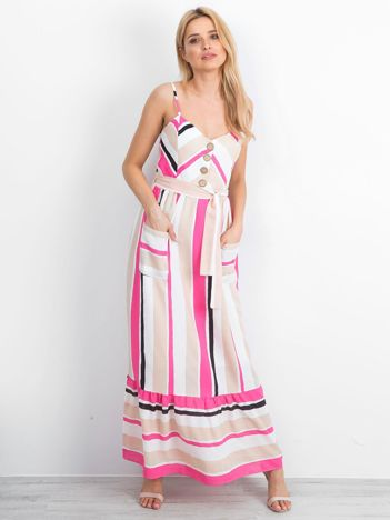 Beżowo-różowa sukienka Evaporate