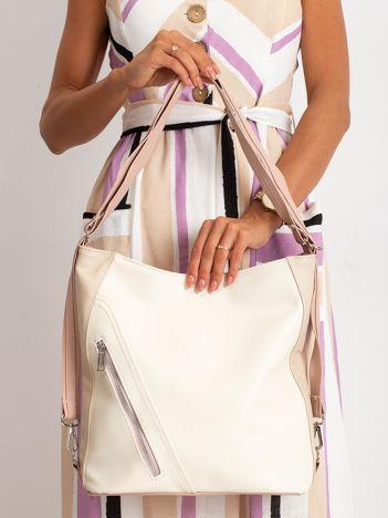 Beżowo-różowa torba city bag