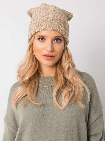 Beżowo-żółta czapka zimowa RUE PARIS