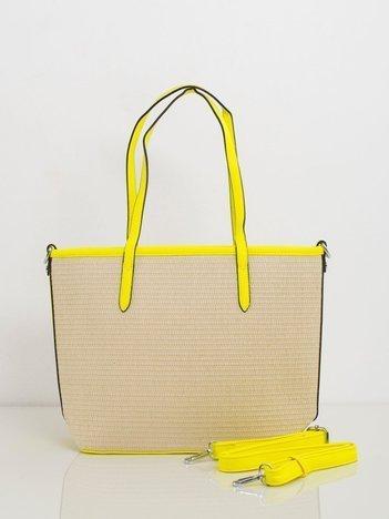 Beżowo-żółta pleciona torebka