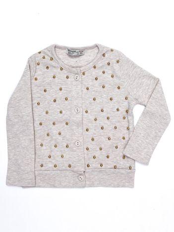 Beżowy bawełniany sweter niemowlęcy z perełkami