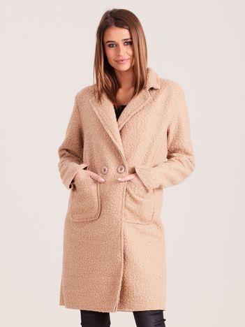 Beżowy damski płaszcz boucle