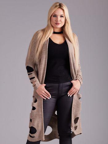 Beżowy długi sweter z dziurami PLUS SIZE