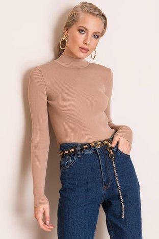 Beżowy dopasowany sweter BSL