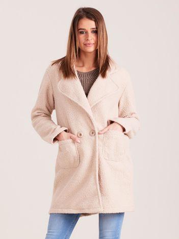 Beżowy dzianinowy damski płaszcz