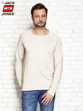 Beżowy gładki sweter męski