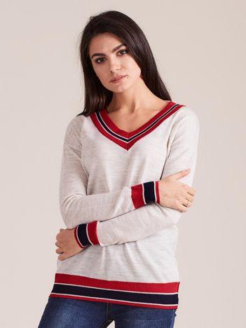 Beżowy lekki sweter damski z dekoltem V-neck