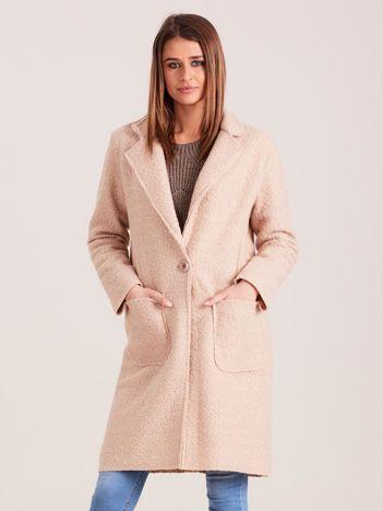 Beżowy płaszcz boucle
