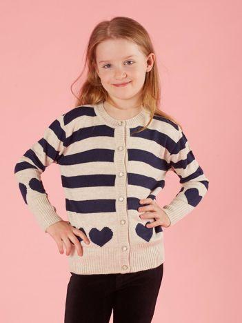 Beżowy sweter dla dziewczynki w paski
