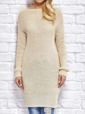 Beżowy sweter z wiązaniem
