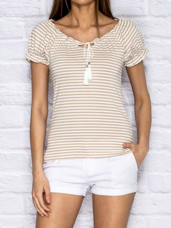 Beżowy t-shirt w paski z wiązaniem
