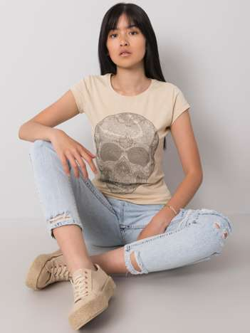 Beżowy t-shirt z aplikacją Skull
