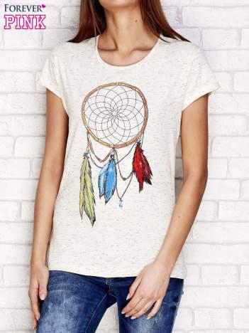 Beżowy t-shirt z łapaczem snów