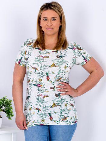 Beżowy t-shirt z motywem ptaków PLUS SIZE