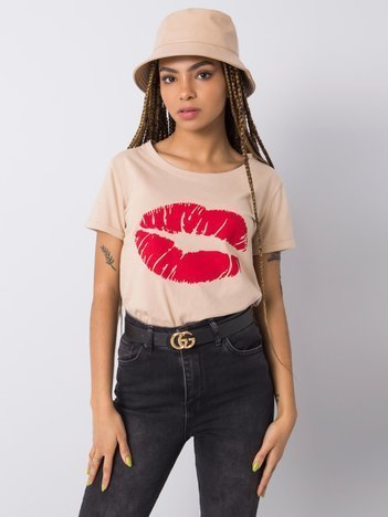 Beżowy t-shirt z nadrukiem Tiziana OCH BELLA