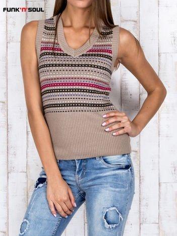 Beżowy wzorzysty sweter z wełną FUNK N SOUL