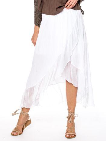Biała asymetryczna spódnica z falbanami