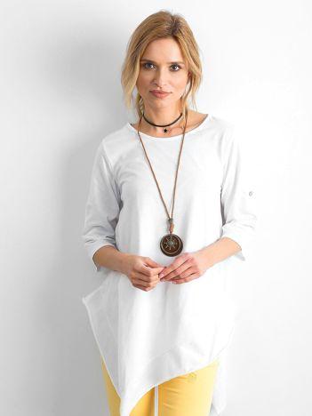 Biała asymetryczna tunika damska