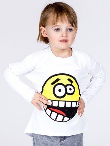 Biała bawełniana bluzka dziecięca z zabawną emotikonką