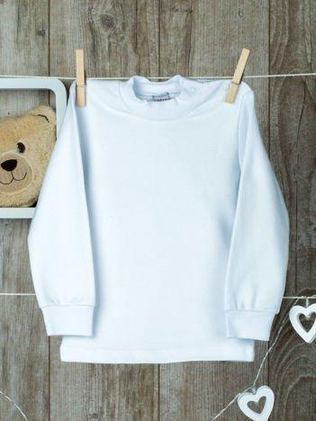 Biała  bawełniana klasyczna bluzeczka niemowlęca z półgolfem  dla chłopca i dziewczynki
