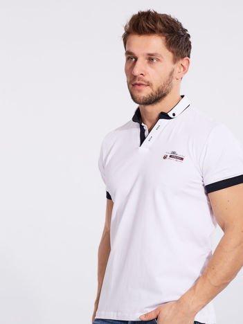 Biała bawełniana męska koszulka polo