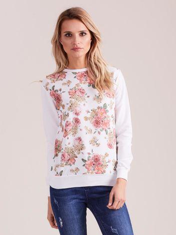 Biała bluza damska w kwiaty