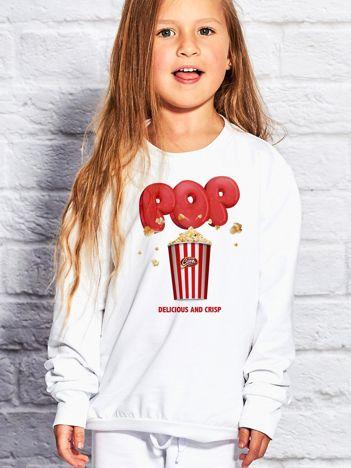 Biała bluza dziecięca z nadrukiem popcornu