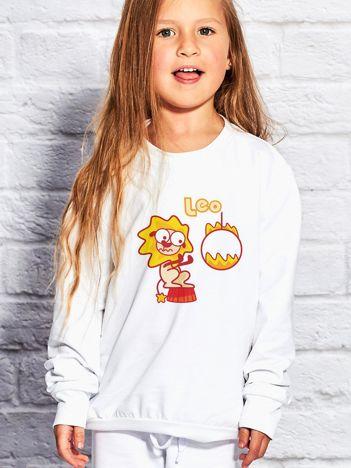 Biała bluza dziecięca znak zodiaku LEW