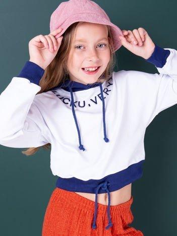 Biała bluza z kapturem dla dziewczynki