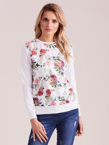 Biała bluza z nadrukiem kwiatów